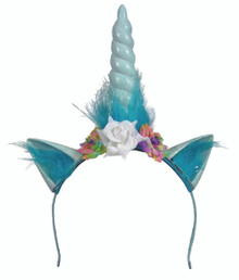 Unicorn Headpiece Baby Blue  with Horn and Ears