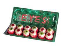 Cartoon of Eyes Green Plastic Egg Carton of Eyeballs 12