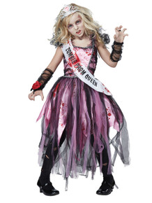Zombie Prom Queen Girl's Costume w/ Clip-On Safety Light Included