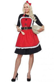 Mrs Claus Apron with Headband & Bow