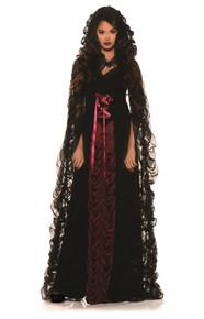 Midnight Mist - Full Length Lace front Dress w/ Full Legth Pleated Chiffon Cape
