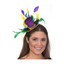 Mardi Gras Mini Top Hat Headband with Feathers