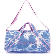 "Denim Duffle with Pink Stones ""DANCE"" 18 in x 9 in."