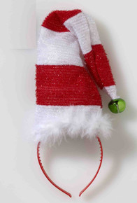 Santa Hat on Headband with Bell Red & White