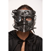 Silver Full Face Bauta Style Steampunk Mask