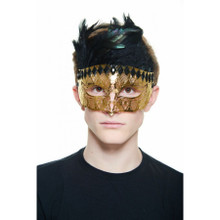 Gold Laser Cut Metal Venetian Mask with Black Stones & Black Feathers