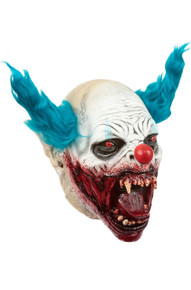 Clown Vampire Mask with Blue Hair and Bloody Teeth