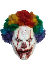 Clown Licensed Clown Mask Deluxe Latex with Rainbow Afro