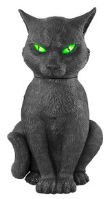 Animated Creepy Cat with Green Light up Eyes