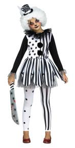 Killer Clown Costume Set for Girls Black and White