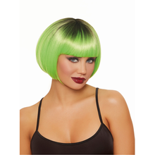 Green and Black Dip-Dye Short Bob Wig