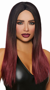 Long Straight Black and Burgundy Ombre Wig