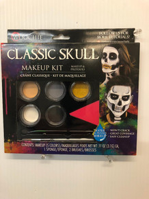 Classic Skeleton Makeup Kit Water Activated 5 Colors 1 Sponge 2 Brushes