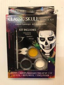 Classic Skull Stencil Makeup Kit Water Activated 3 Colors Pecision Stencil Brush