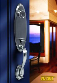 Antique Nickel Entry Door Handleset - Custom Keyable