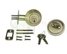 Antique Brass Single Cylinder Entry Door Deadbolt - New!
