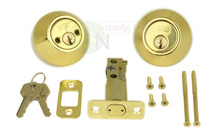 Polished Brass Double Cylinder Entry Door Deadbolt New