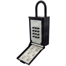 Push button combination Lock Box with hanging shackle in black