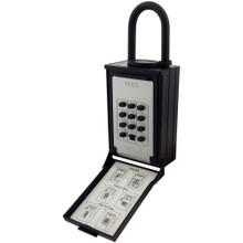 NU-SET 2084-3 Key/Card Storage Push Button Lockbox with Combination Locking Shackle, Black