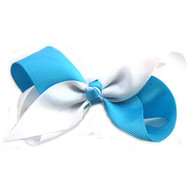 CLIP BOW WHITE + TURQUOISE