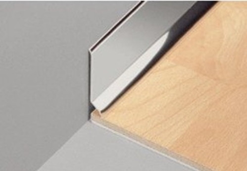 Stainless steel skirting board national stair for Baguette de finition carrelage sol
