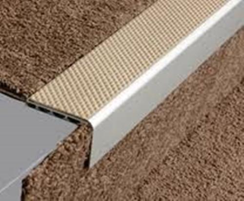 Aluminium Square Anti Slip Carpet Stair Edge Nosing 2 5m
