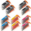 10 Pack - Compatible replacement for Canon PGi-250 and Cli-251 series ink cartridges
