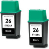 Twin Pack - Remanufactured replacement for HP 26 (51626A) black ink cartridges