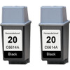 Twin Pack - Remanufactured replacement for HP 20 (C6614A) black ink cartridges
