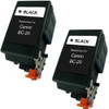 Twin Pack - Remanufactured replacement for Canon BC-20 (0895A003) black ink cartridges