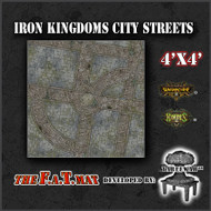 4x4 'Iron Kingdoms City Streets' Privateer Press branded F.A.T. Mat Gaming Mat