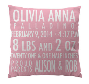 Pillow-Birth Announcement II