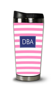 Personalized Travel Tumbler- Pink Stripes