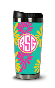 Personalized Travel Tumbler-McKenzee Floral Turquoise