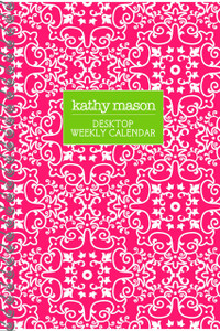 Weekly Planner Spiral Notebooks-French Damask-Pink