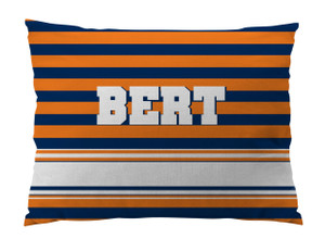 Dog Bed-FLORIDA ORANGE and NAVY RUGBY
