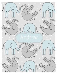 Blanket- Elephants II-Blue
