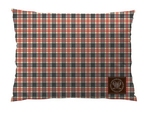 Dog Bed -JP-Black with Khaki Plaid