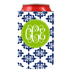 Can Koozie-Navy Damask