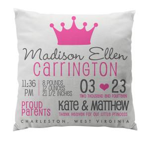 Pillow-Birth Announcement-Princess White