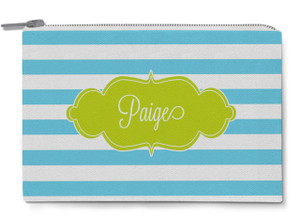 Accessory Zip Pouch- Blue Lagoon Stripe
