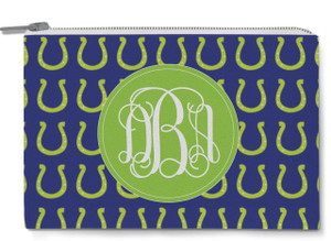 Accessory Zip Pouch- Horseshoe Navy Prep
