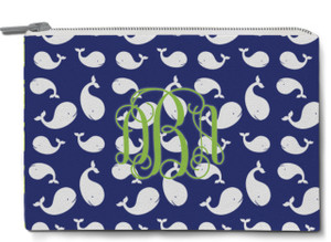 Accessory Zip Pouch- Multi Whales