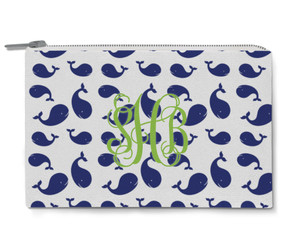 Accessory Zip Pouch- Multi Whales Reversed