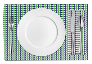 Placemats-Navy and Green Triangles