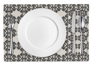 Placemats-Black Frilly Damask