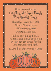 Invitation- Thanksgiving Pumpkins