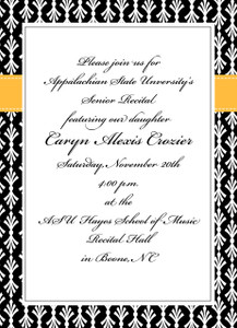Invitation-Black and White Frilly