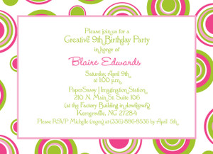 Invitation-Circles and Dots Pink and Lime