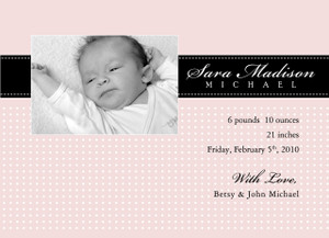Invitation-Baby Pink Dots Photo Announcements